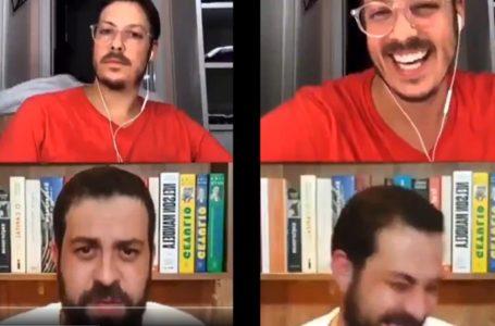 Vídeo: Esposa de Fábio Porchat passa pelada durante live com Boulos e provoca gargalhadas