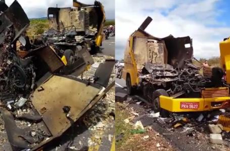 Criminosos explodem carro forte na BA 210 em Glória-BA